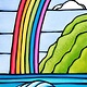 Heather Brown Rainbow to the Sea, 10x20 OE, Matted Sugarcane Fine Art Print