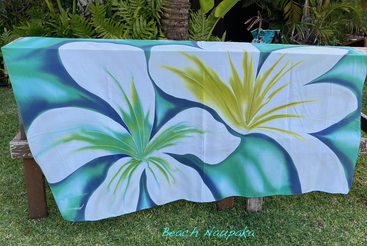 Angela Tisseraud BEACH NAUPAKA: HAND PAINTED PAREO