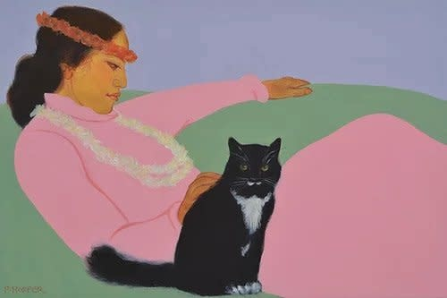 Pegge Hopper NOELANI & FLUFFY, 8X10 PRINT ON PAPER WITH BACKING