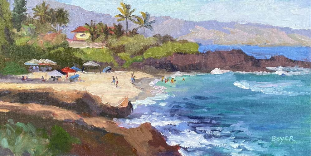 Lynne Boyer Three Tables Beachtime, 8x16 Original Oil on Canvas with Deluxe Brilhante Frame