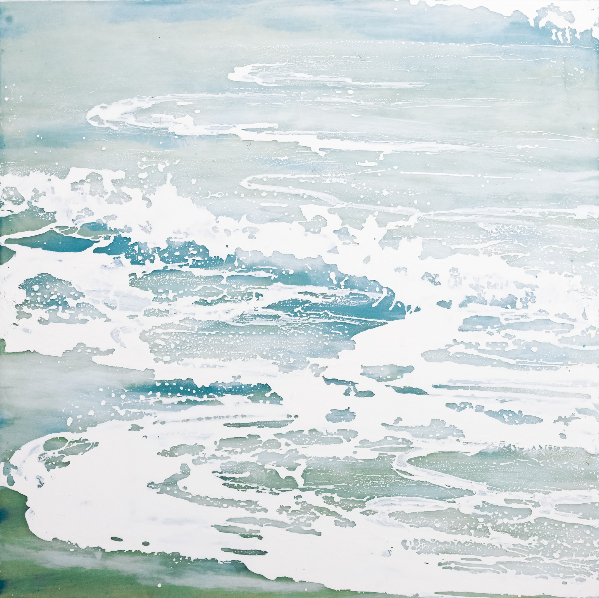 Robin Appasamy Fresh Water 02, Original Encaustic Diptych Painting (Two 16x16)