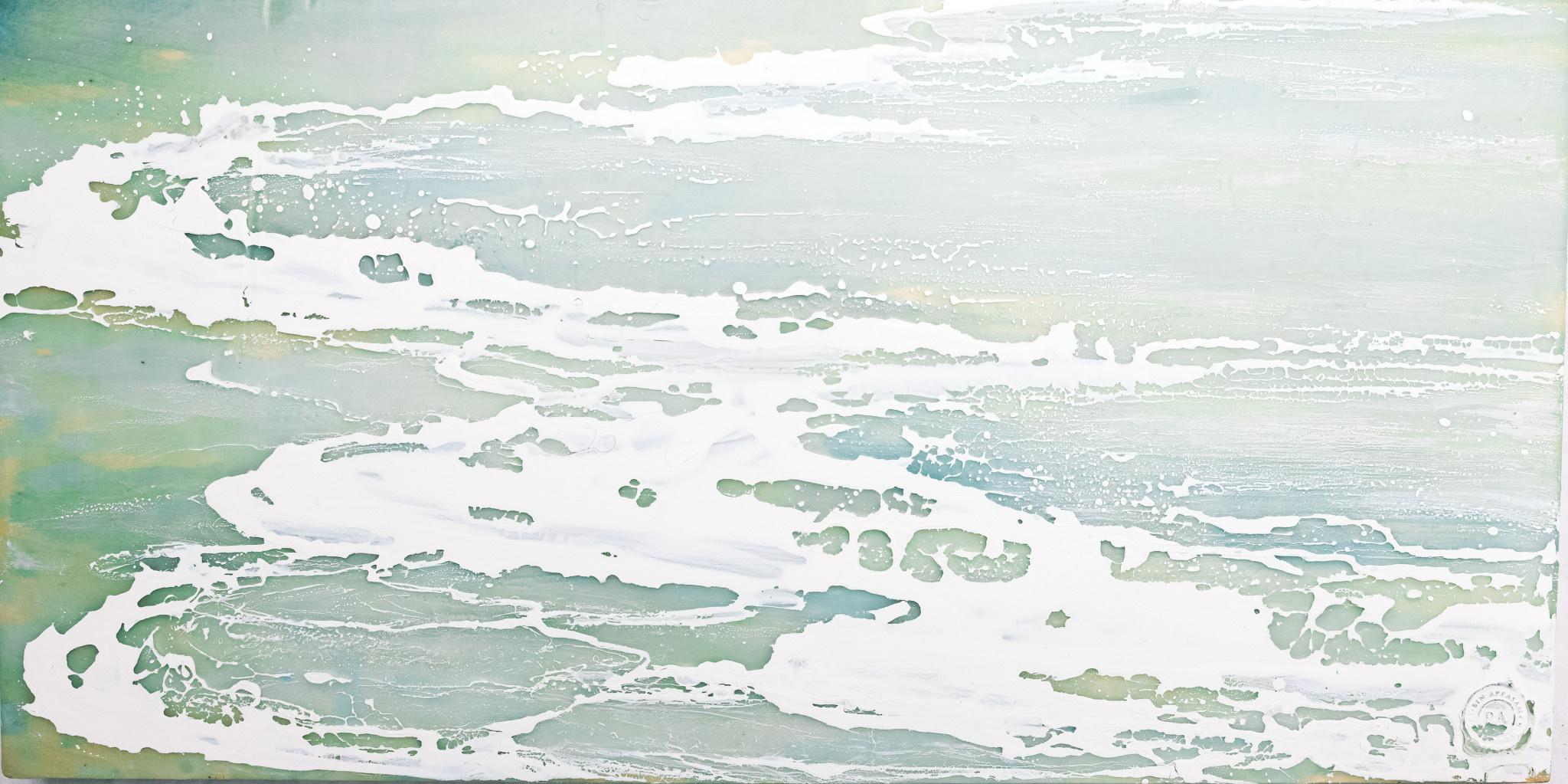 Robin Appasamy Fresh Water 04, 12x24 Original Encaustic Painting