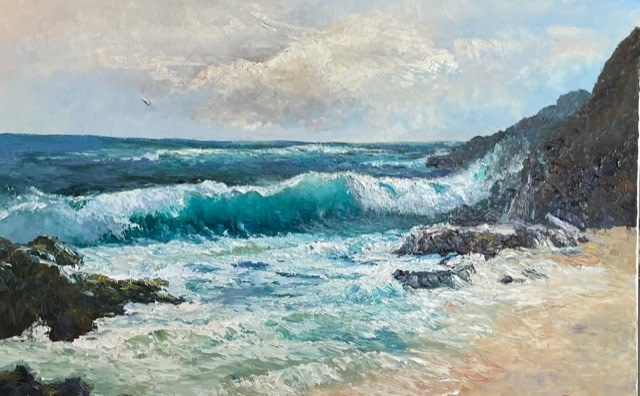 Ed Furuike FROM HERE TO ETERNITY BEACH, 30X20  ORIGINAL PALETTE KNIFE OIL PAINTING