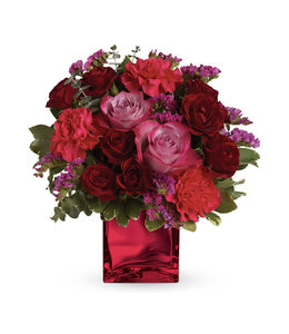 Lush Reds and Pinks Cubed Arrangement