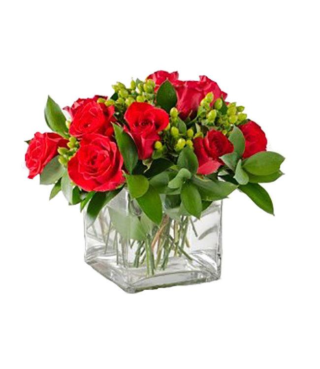 Dozen Roses Cubed Arrangement