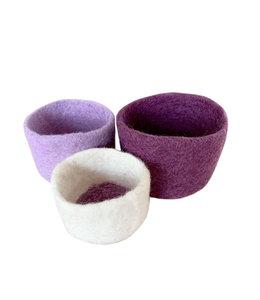 Bowls, Nesting s/3 Felt Purple