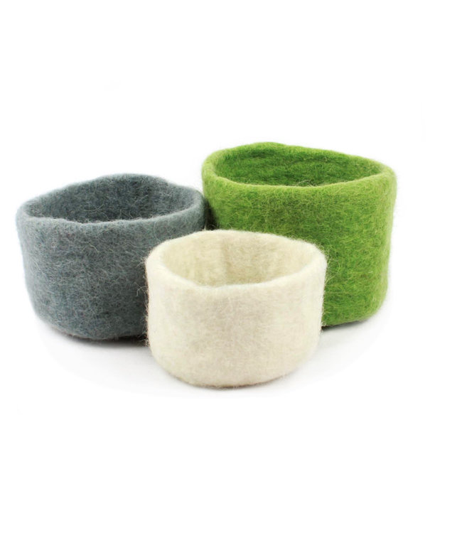 Bowls, Nesting s/3 Felt Green