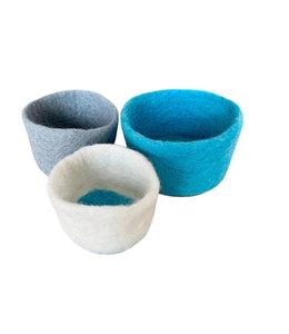 Bowls, Nesting s/3 Felt Blue