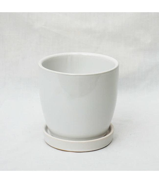 """Pot, White 7"""" w/s"""