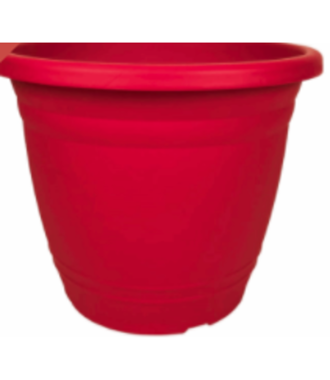 Planter, Round, Red 12 in
