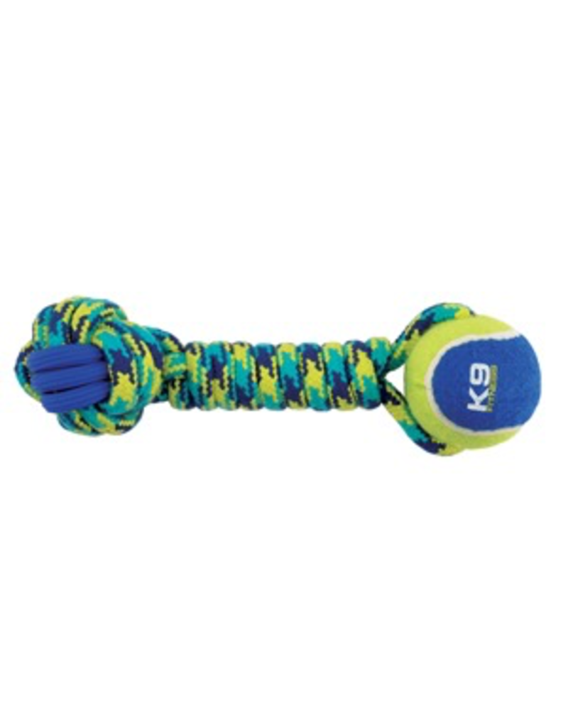 (W) K9 Fitness by Zeus Rope and TPR Tennis Ball Dumbbell - 30.48 cm dia. (12 in dia.)