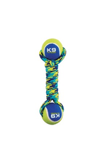 (W) K9 Fitness by Zeus Double Tennis Ball Rope Dumbbell with Tennis Ball - Medium - 6.35 cm (9 in) 96371