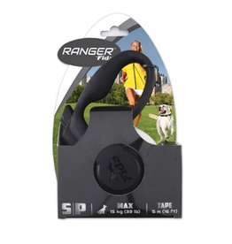 RANGER (W) Ranger by Fida Retractable Tape Lead - Small - White/Black - 5 m (16 ft)
