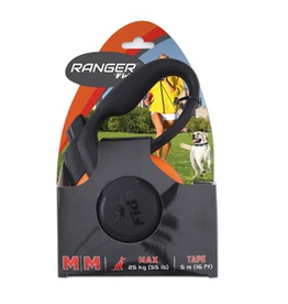 RANGER (D) Ranger by Fida Retractable Tape Lead - Medium - Orange/Black - 5 m (16 ft)