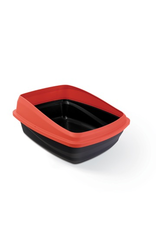 CAT IT Catit Cat Pan with Removable Rim - Red & Charcoal - Medium - 38 x 48 x 22 cm (15 x 18.9 x 8.6 in)