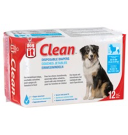 DOG IT Dogit Diapers - Large - 35-55 lbs and waist 18-22.5 in - 12 pack