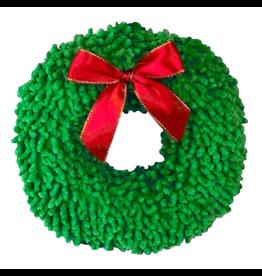 "ANIMAL TREASURES (D) AT X-Mas Plush Dog Toy - Wreath - 8"""