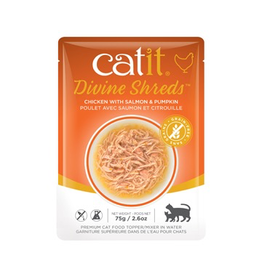 CAT IT Catit Divine Shreds - Chicken with Salmon & Pumpkin - 75g Pouch