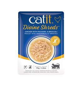 CAT IT Catit Divine Shreds - Chicken with Mackerel & Broccoli - 75g Pouch