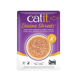 CAT IT Catit Divine Shreds - Tuna with Shirasu & Sweet Potato - 75g Pouch