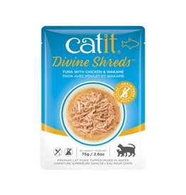 CAT IT Catit Divine Shreds - Tuna with Chicken & Wakame - 75g Pouch
