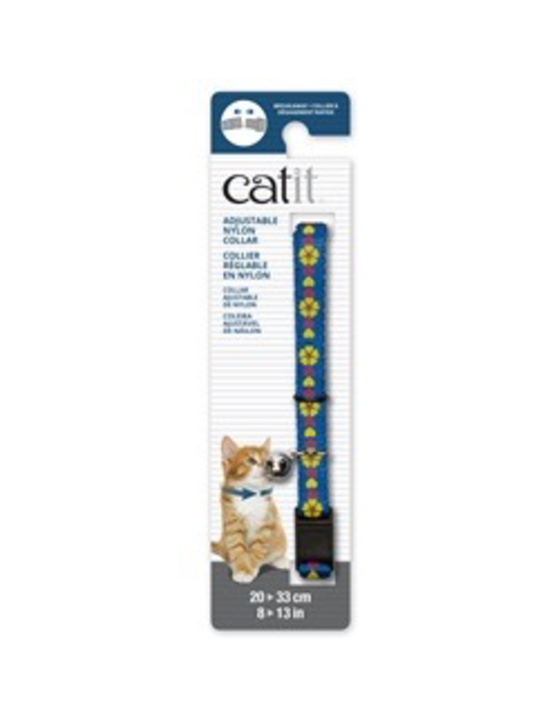 CAT IT Catit Adjustable Breakaway Nylon Collar - Blue with Flowers - 20-33 cm (8-13 in)