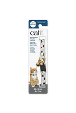 CAT IT Catit Adjustable Breakaway Nylon Collar with Rivets - White with Polka Dots - 20-33 cm (8-13 in)