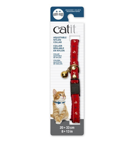 CAT IT Catit Adjustable Breakaway Nylon Collar with Rivets - Red Nautical - 20-33 cm (8-13 in)