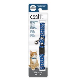 CAT IT Catit Adjustable Breakaway Nylon Collar with Rivets - Blue with Flowers - 20-33 cm (8-13 in)