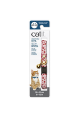 CAT IT Catit Adjustable Breakaway Nylon Collar with Rivets - Red & White with Flowers - 20-33 cm (8-13 in)