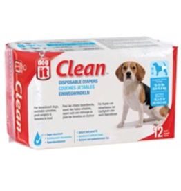 DOG IT (W) Dogit Diapers - Medium - 15-35 lbs and waist 16.5-21 in - 12 pack
