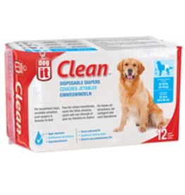 DOG IT (W) Dogit Diapers - XL - 55-90 lbs and waist 20-26 in - 12 pack