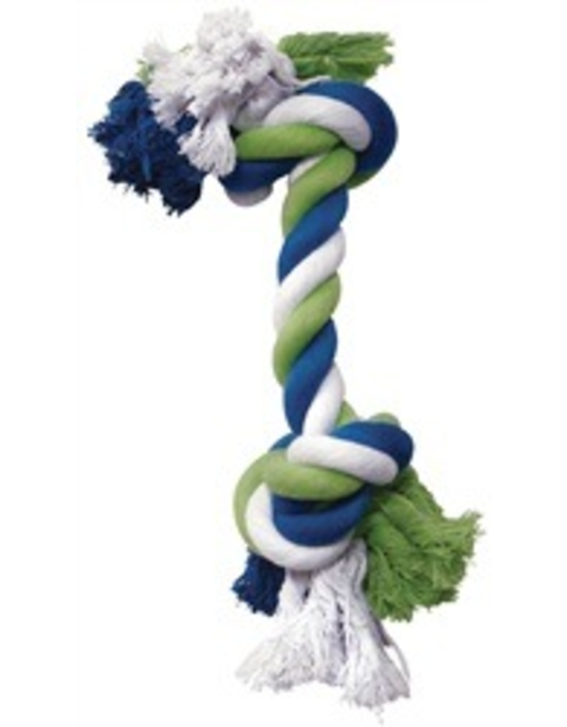 DOG IT DO Blue/Lime/White Cotton Rope Bone,Sm-V