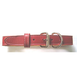 """ARIZONA (D) SINGLE LEATHER STITCHED COLLAR (1"""" X 24"""") RED"""