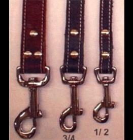"ARIZONA (D) SINGLE LEATHER STITCHED LEASHES (1/2"" X 72"") PINK"