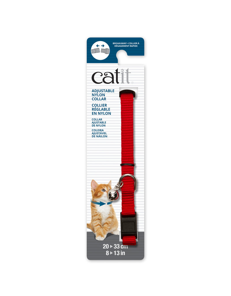 CAT IT Catit Adjustable Breakaway Nylon Collar - Red - 20-33 cm (8-13 in)