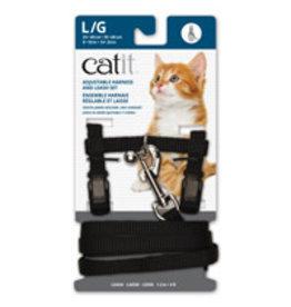 CAT IT CA Aj. Harness and Leash Set, Black, L-V