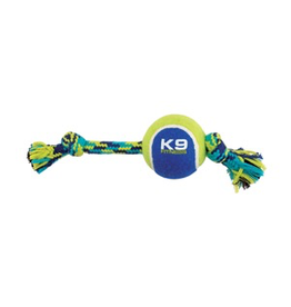 (W) K9 Fitness by Zeus Knotted Rope Bone with Tennis Ball - Medium - 25.4 cm (10 in)