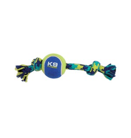 (W) K9 Fitness by Zeus Knotted Rope Bone with Tennis Ball - Small - 22.86 cm (9 in)