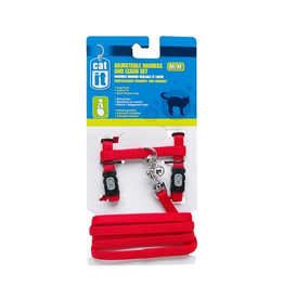 CAT IT (W) CA Aj. Harness and Leash Set, Red, S-V