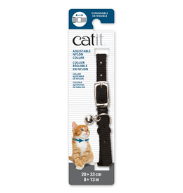 CAT IT (W) Catit Adjustable Nylon Expandable Collar - Black - 20-33 cm (8-13 in)