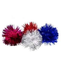 A.T. PET PRODUCTS (D) AT Glitter Poms Ball - 4 pk