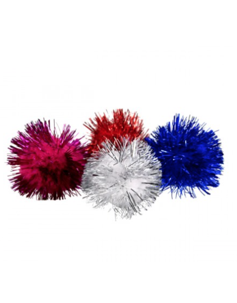 A.T. PET PRODUCTS AT Glitter Poms Ball - 4 pk