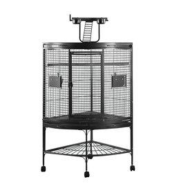HARI HARI Playtop Corner Parrot Cage - Silver Antique Black - 94 L x 66 W x 159 H cm (37 in x 26 in x 62.5 in)
