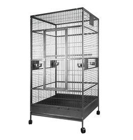 HARI HARI Flat Top Parrot Cage - Silver Antique Black - 99 L x 99 W x 190 H cm (39 in x 39 in x 75 in)