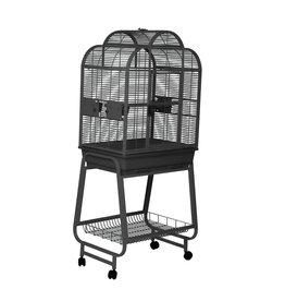 HAGEN HARI Convertible Top Parrot Cage - Silver Antique Black - 68 L x 51 W x 154 H cm (27 x 20 x 60 in)