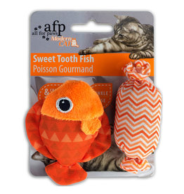 AFP All for Paws Modern Cat Sweet Tooth Fish, Assorted (Blue/Green/Orange/Pink), 2 pack