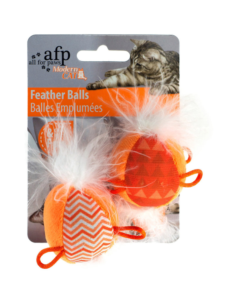 AFP All for Paws Modern Cat Feather Balls with Sound - 2 pack