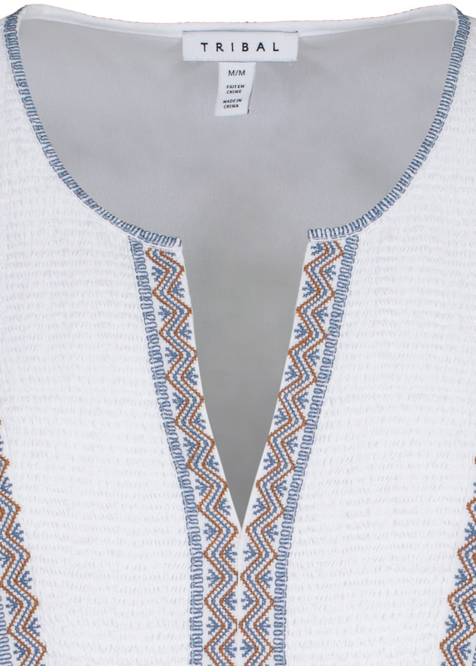 Tribal Tribal Embroidered Blouse W/Cap Sleeves