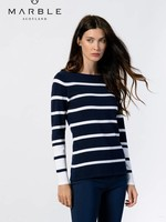 Marble Marble Sweater w/White Stripes  Long Sleeve
